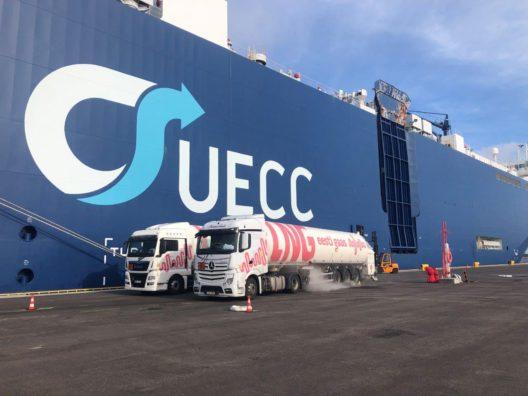 Eesti Gaas punkerdab LNG laeva Hanko sadamas.