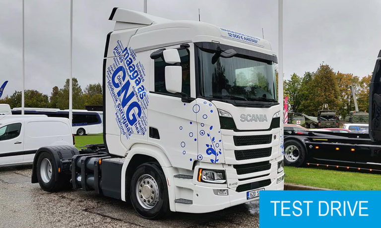 Scania R410 CNG test drive truck