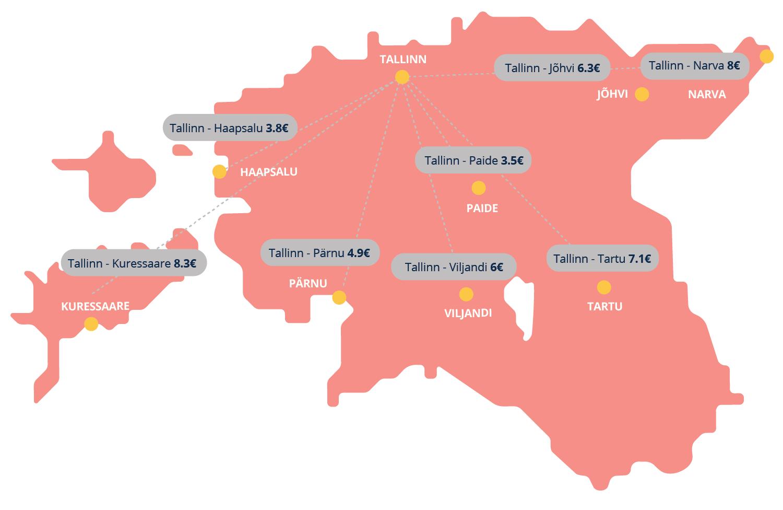 Vaata CNG kulu Eestimaa linnade vahel
